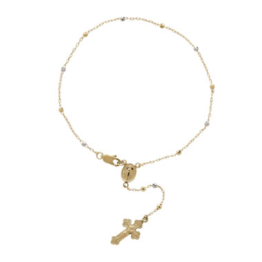 jcpenney.com | Tesoro™ 14K Two-Tone Gold Beaded Rosary with Cross Bracelet