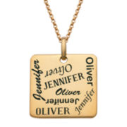 Personalized 18K Yellow Gold over Silver Scattered Names Pendant Necklace