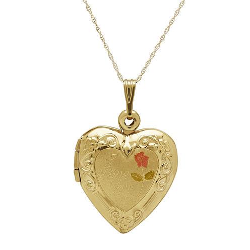 """10K Yellow Gold """"I Love You"""" Heart Locket"""