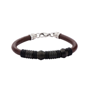 jcpenney.com | Mens Black Bead Brown Leather Stainless Steel Bracelet