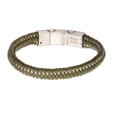 jcpenney.com | Mens Green Woven Leather Stainless Steel Bracelet