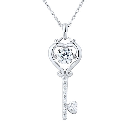 Sterling Silver Dancing Cubic Zirconia Key Pendant