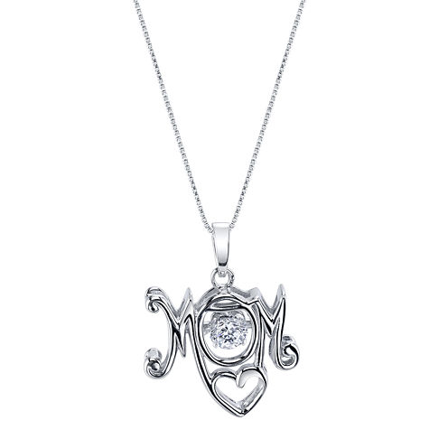 Inspired Moments™ Dancing Cubic Zirconia Sterling Silver Mom Pendant Necklace