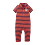 Carter's® Short-Sleeve Striped Polo Jumpsuit - Baby Boys newborn-24m