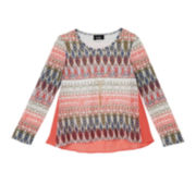 by&by Long-Sleeve Print Top and Necklace - Girls 7-16