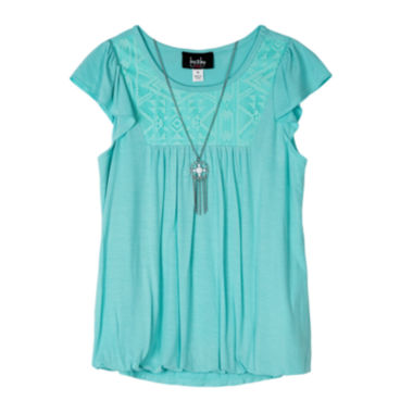 jcpenney.com | by&by Girl Short-Sleeve Bubble-Hem Top with Necklace - Girls 7-16