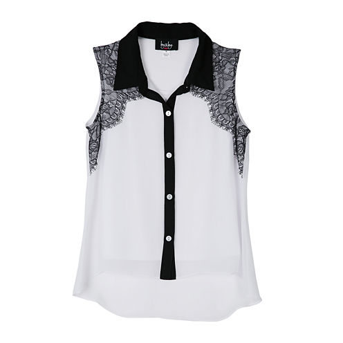 by&by Girl Sleeveless Contrast-Lace Top - Girls 7-16