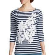 St. John's Bay® Floral Stripe 3/4-Sleeve T-Shirt - Tall