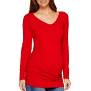 Maternity Long-Sleeve V-Neck Ruched-Side T-Shirt - Plus