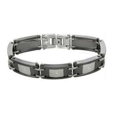 jcpenney.com | Mens Black Ceramic & Stainless Steel Diamond Bracelet