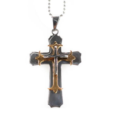 jcpenney.com | Mens Stainless Steel Large Cross Pendant Necklace