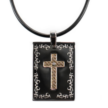 jcpenney.com | Mens Stainless Steel & 18K Gold Diamond-Accent Cross Dog Tag Pendant Necklace