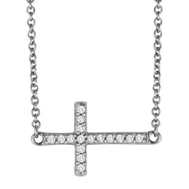 jcpenney.com | 1/10 CT. T.W. Diamond Sterling Silver Mini Sideways Cross Pendant