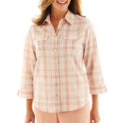 Alfred Dunner® Animal Attraction 3/4-Sleeve Plaid Blouse