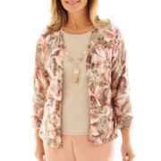 Alfred Dunner® Animal Attraction Flower Print Layered Sweater with Necklace