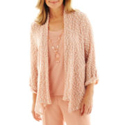 Alfred Dunner® Animal Attraction Texture-Stitched Layered Sweater with Necklace