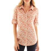 St. John's Bay® Rolled-Sleeve Camp Shirt - Tall