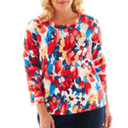 Alfred Dunner® Secret Garden Floral Print Sweater - Plus