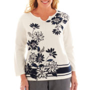 Alfred Dunner® Secret Garden Border Striped Floral Layered Sweater - Plus