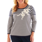 Alfred Dunner® Secret Garden Appliqué Floral Striped Sweater - Plus