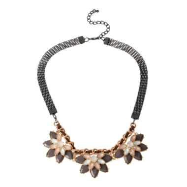 jcpenney.com | Bleu™ Pink and Gray Stone Flower Necklace