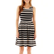 S.H.E. Sleeveless Striped Fit-and-Flare Dress