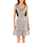 S.H.E. Sleeveless Jacquard Fit-and-Flare Dress