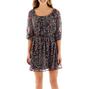 My Michelle® 3/4-Sleeve Lattice Floral Print Dress
