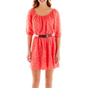 City Triangles® Elbow-Sleeve Aztec Print Lace Dress