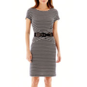 Alyx® Short-Sleeve Textured Pinstripe Dress