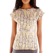 Liz Claiborne® Short-Sleeve High-Low Print Blouse - Tall