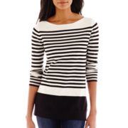 Liz Claiborne® 3/4-Sleeve Striped Boatneck Tunic Sweater - Tall