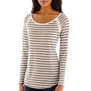 Liz Claiborne® Long-Sleeve Striped Scoopneck Tee - Tall