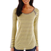 Liz Claiborne® 3/4-Sleeve Striped Scoopneck Tee - Tall