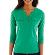 Liz Claiborne® 3/4-Sleeve Henley Top - Tall