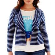 Stylus™ Striped Knit Moto Jacket - Plus