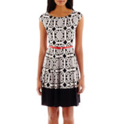 Tiana B. Cap-Sleeve Belted Puff-Print Dress - Tall