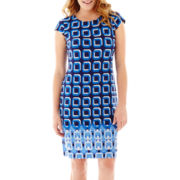Liz Claiborne® Cap-Sleeve Border-Print Shift Dress