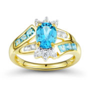 Genuine Blue Topaz & Lab-Created White Sapphire Ring