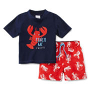 Carter's® Lobster Rash Guard Set – Boys 3m-24m
