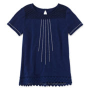 Arizona Short-Sleeve Crochet Lace Tunic – Girls 7-16 and Plus