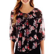 by&by 3/4-Sleeve Print Chiffon Peasant Top
