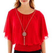 by&by Dolman-Sleeve Chiffon Necklace Top
