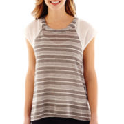 by&by Raglan-Sleeve Knit and Chiffon Top