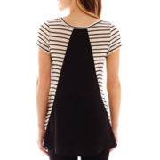 by&by Short-Sleeve Striped Chiffon-Back Top