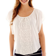 by&by Short-Sleeve Crochet-Center Top