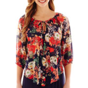 by&by 3/4-Sleeve Floral Print Chiffon Peasant Top