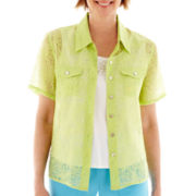 Alfred Dunner® Hint of Lime Short-Sleeve Burnout Layered Top