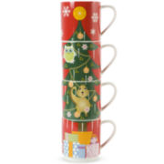 Maxwell and Williams™ Kris Kringle Tree Set of 4 Stacking Mugs