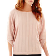 Liz Claiborne® 3/4-Sleeve Solid Sweater